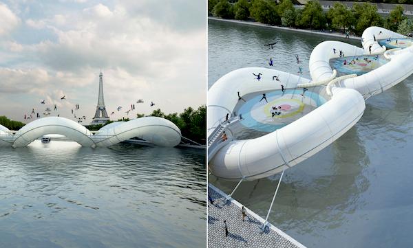 trampoline brug Seine Parijs