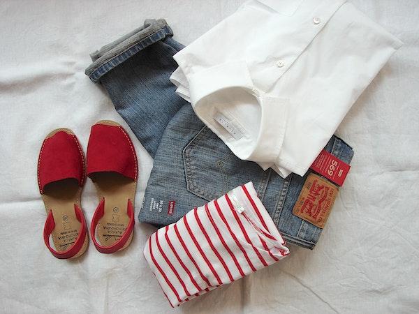 kleren streepjestrui espadrilles