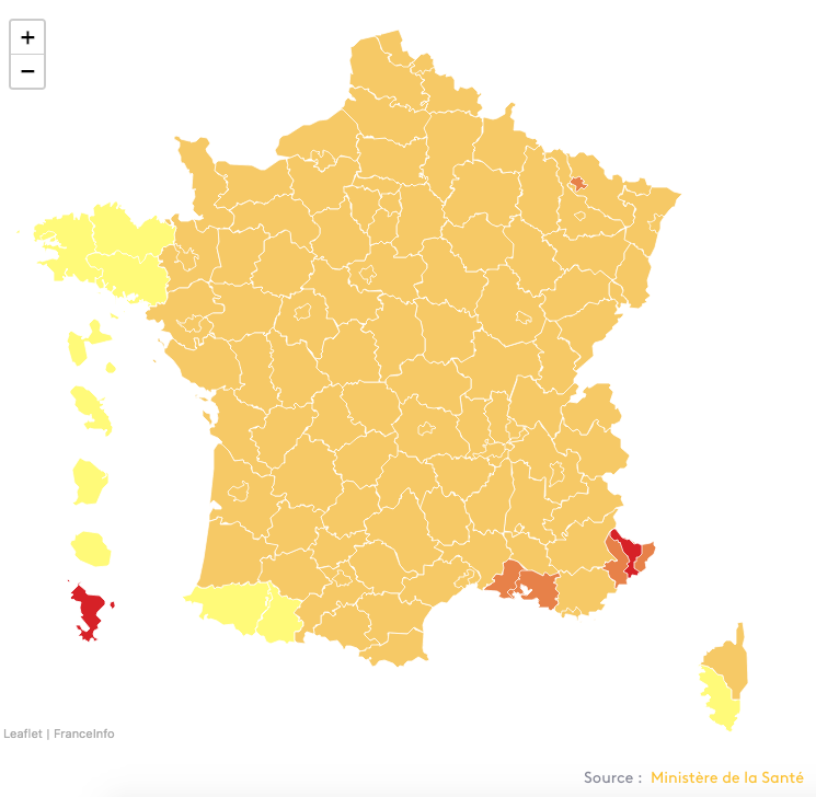 coronakaart Frankrijk