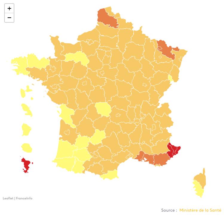 Actuele coronakaart France 3