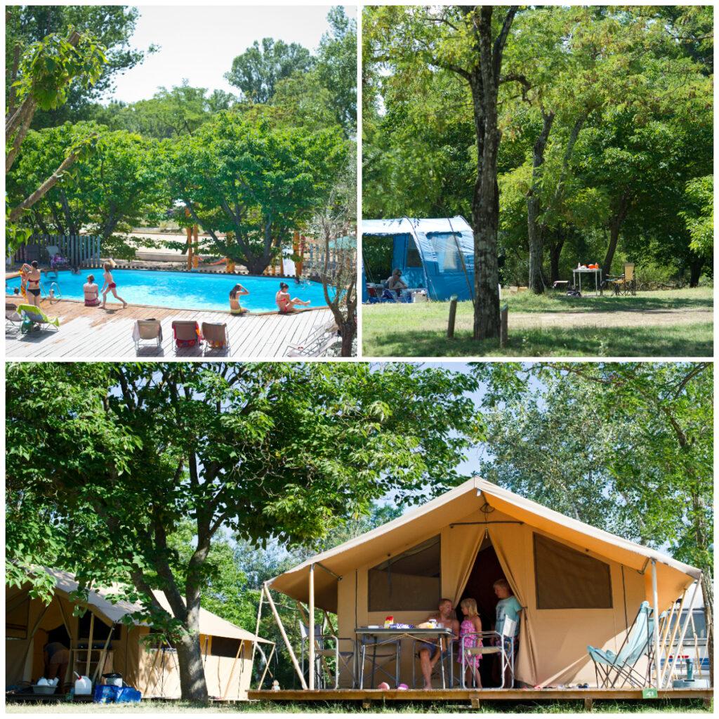 camping in de Ardeche naast de rivier Huttopia